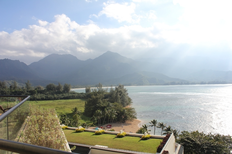 View of Hanalei Bay from the St. Regis Princeville Resort balcony - Hawaiianly